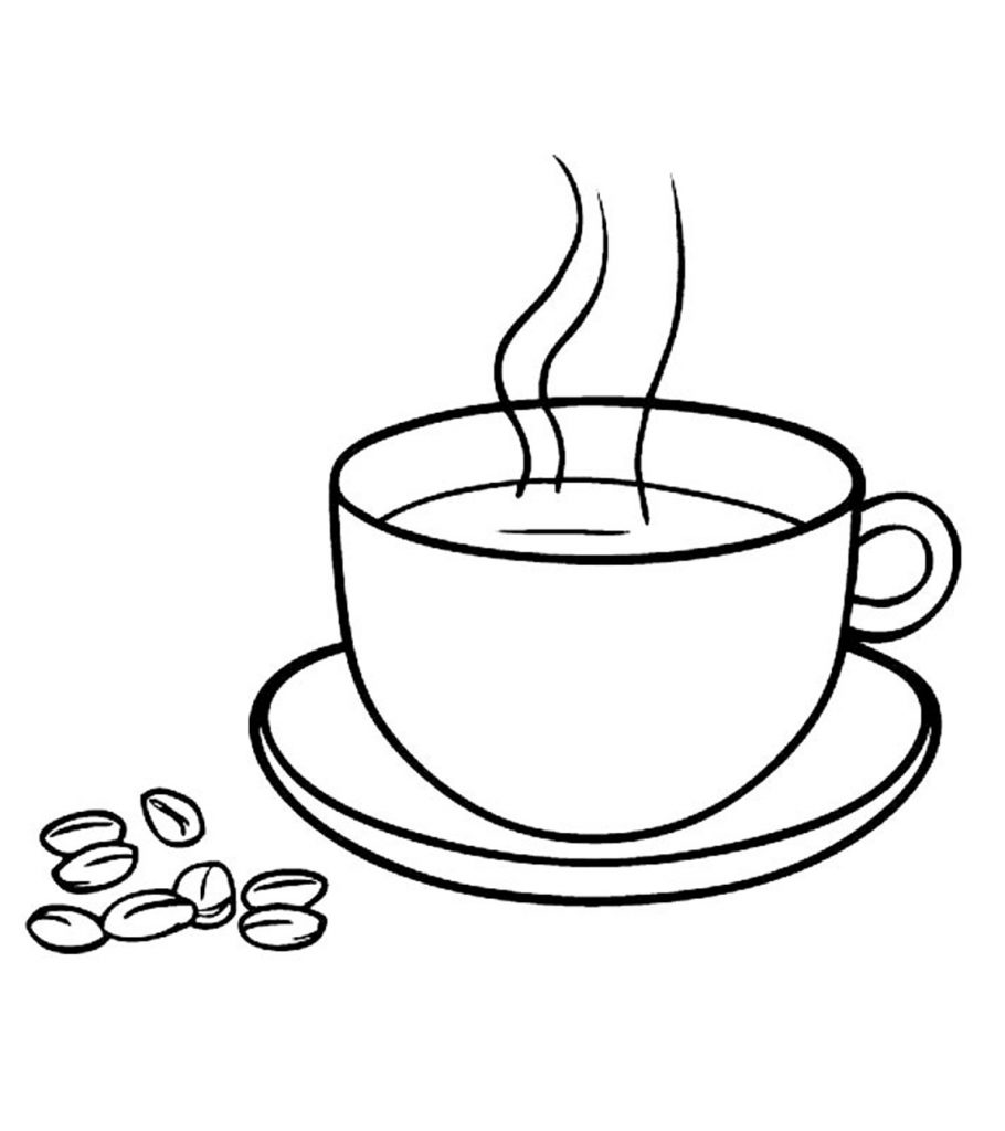 It is a picture of Bright Coffee Cup Coloring Page