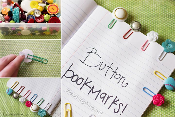 Christmas Gifts For Kids - Cute Button Bookmarks