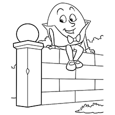 Humpty Dumpty Coloring Pages - Cute Humpty Sitting On The Wall