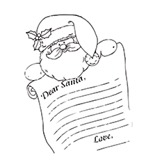 Dear Santa Gets Greetings Coloring Page To Print