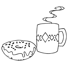 Donut Coloring Page - Donut And Hot Chocolate