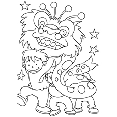 Chinese New Year Coloring Pages - Dragon Dance
