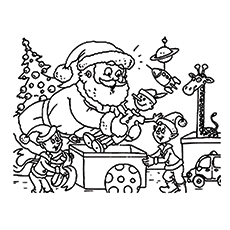 Santa Claus Elves Working Coloring Pages