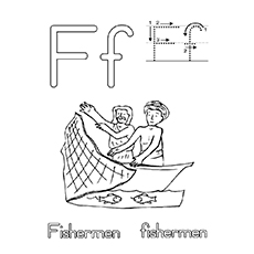 F For Fisherman Coloring Page