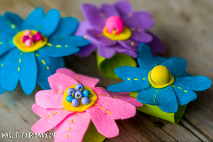 Mother's Day Craft Ideas For Kids - Floral Napkin Rings