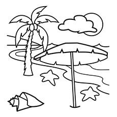 Hawaiian Beach Picture to Color