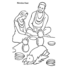 Hawaiian Feast Coloring Pages