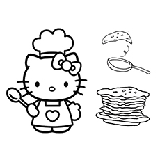 Hello Kitty is Ready with the Pancake Coloring Pages -