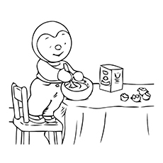 Free Printable Coloring Pages of Kid Making Pancake Butter