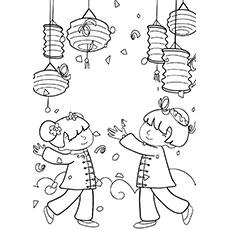 Chinese New Year Coloring Pages - Kids Celebrating Chinese New Year
