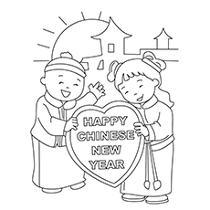 chinese new year coloring pages kids wishing happy new year
