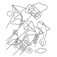 Chinese New Year Coloring Pages - Kite Flying