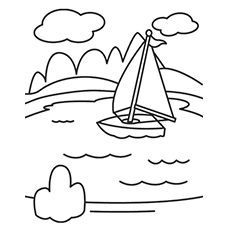 Lake Coloring Pages - Lake And Boat