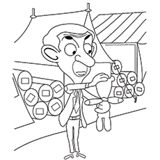 mr bean coloring pages mr bean attending a fair