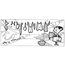 mr bean coloring pages mr bean doing laundry