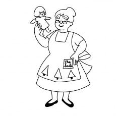 Mrs. Santa Making A Doll