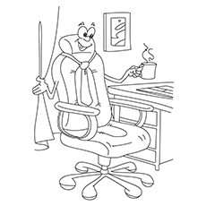 Coffee Coloring Pages - Office Chair Enjoying Coffee