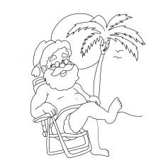 Santa Chilling At The Beach