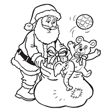 Santa Claus Collecting The Toys Picture to Color