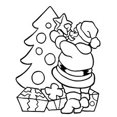Coloring Worksheet of Santa Decorating The Christmas Tree
