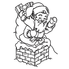 picture of santa claus entering the house from chimney to color