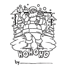 Santa Greeting Card Printable Coloring Page