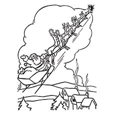 Santa Claus On His Sleigh Coloring Page to Print