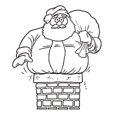 Santa Claus Stuck In The Chimney Image to Color