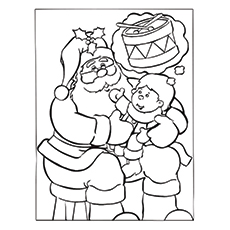 Santa With A Kid Pic to Color