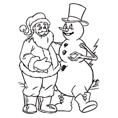 Coloring Pages of Santa With Frosty