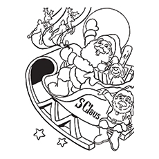 Santa Claus With His Buddies Coloring Sheet for Kids