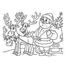 santa claus with his reindeer friends pic for kids to color