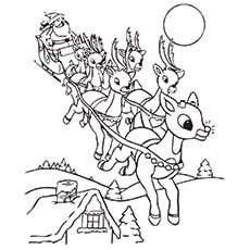Santa With Rudolf Worksheet for Kids to Color
