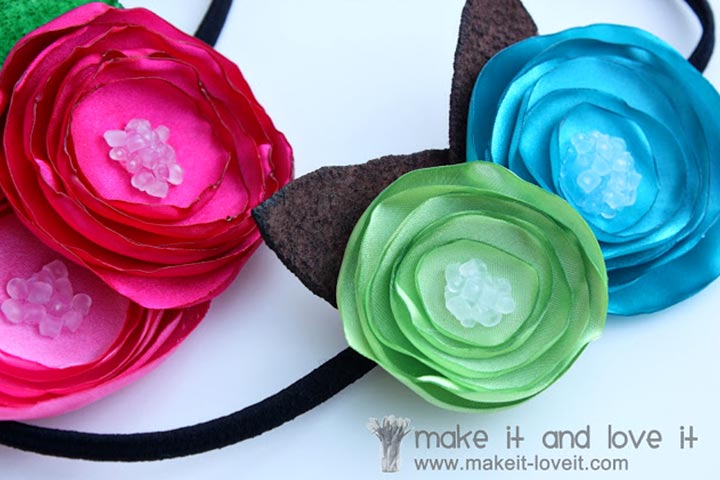 Christmas Gifts For Kids - Satin Flower Headbands