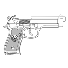 Gun Coloring Pages - Service Pistol
