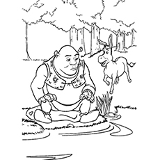 Lake Coloring Pages - Shrek And Donkey At The Lake