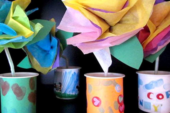 Mother's Day Craft Ideas For Kids - Tissue-Paper Flowers in Yogurt-Cup Vases