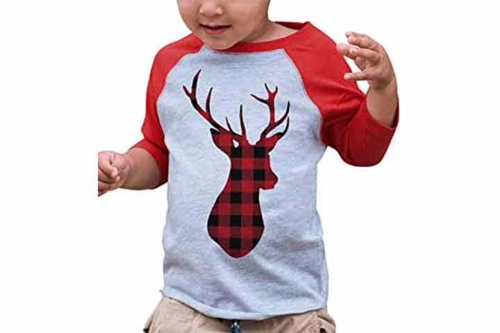 7 Ate 9 Apparel Kids Plaid Christmas Raglan Shirt