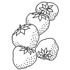 Handful Of Five Strawberries Coloring Pages