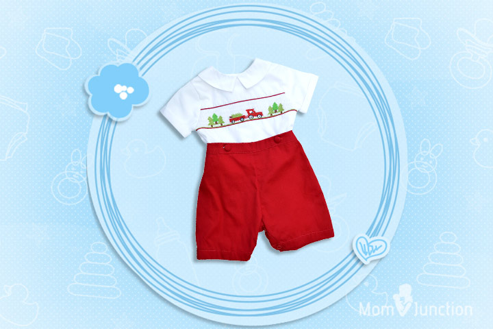 Christmas Outfits For Kids - Baby Boy's Hand Smocked 2 Piece Bobbie Suit