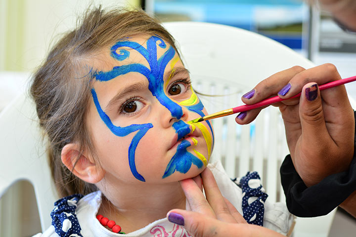Butterfly Face Painting Designs For Kids - Blue Butterfly Face Painting