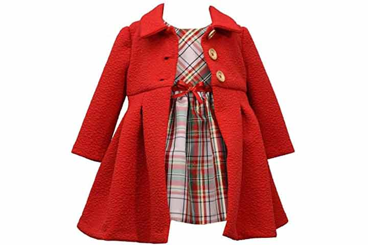 Bonnie Jean Girl's Holiday Christmas Dress and Coat Set