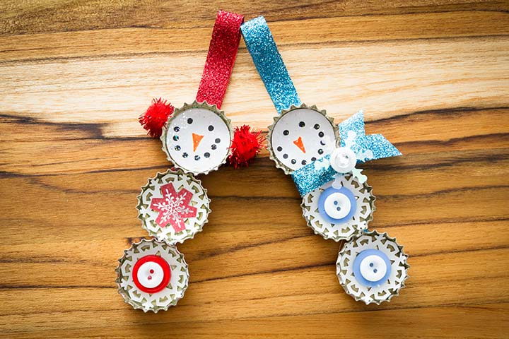 Recycled Crafts For Kids - Bottle Cap Snowmen