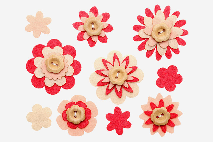 Button Crafts For Kids - Button Flowers