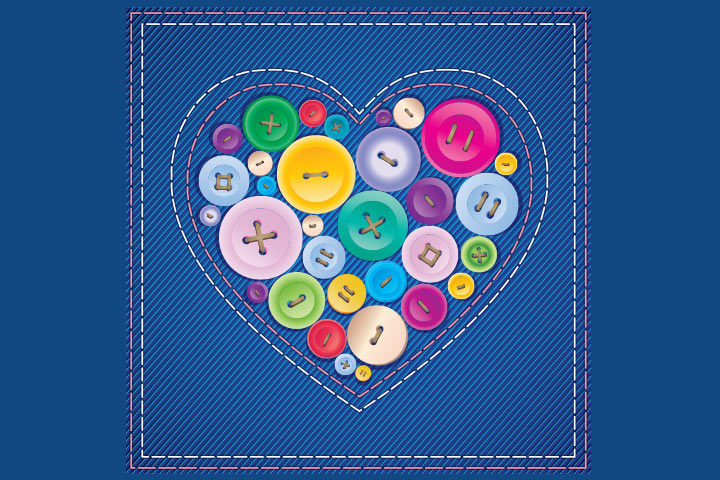 Button Crafts For Kids - Button Heart Pocket