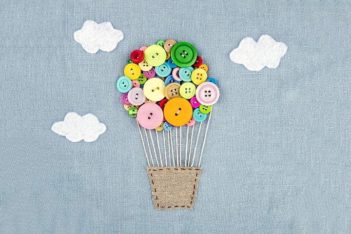 Button Crafts For Kids - Button Hot Air Balloon