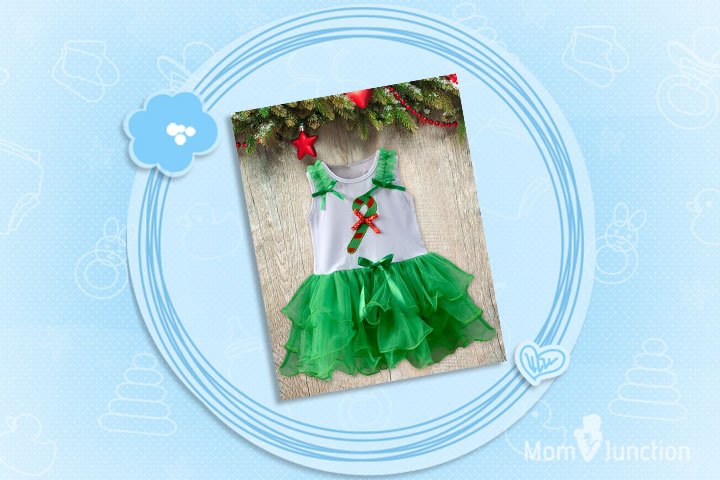 Christmas Outfits For Babies - Candy Cane Ruffle Dress