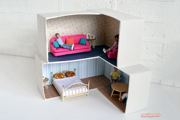 Cardboard Box Crafts For Kids - Cardboard Box Dollhouse