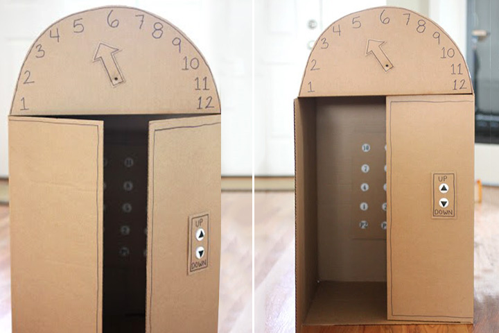 Cardboard Box Crafts For Kids - Cardboard Box Elevator