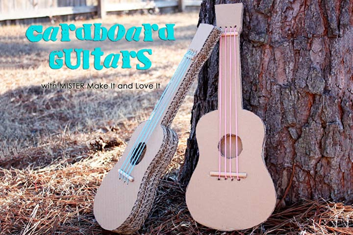 Cardboard Box Crafts For Kids - Cardboard Box Guitar